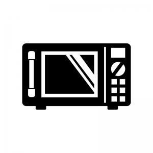 電子レンジの白黒シルエットイラスト素材