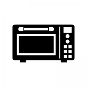 電子レンジの白黒シルエットイラスト素材02