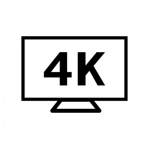 4Kテレビの白黒シルエットイラスト素材