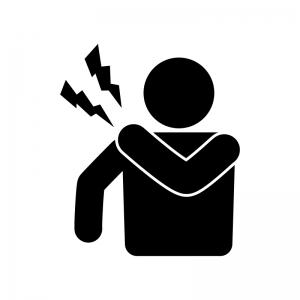 肩の痛みの人物の白黒シルエットイラスト素材