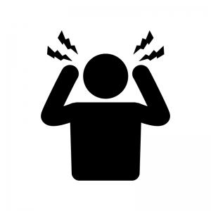 頭痛の人物の白黒シルエットイラスト素材