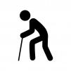 杖をついて歩いている人物の白黒シルエットイラスト素材
