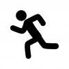 走っている人の白黒シルエットイラスト素材