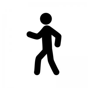 歩いている人の白黒シルエットイラスト素材