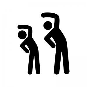 二人で体操をしている人物の白黒シルエットイラスト素材