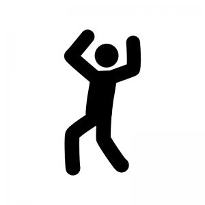 バンザイ・手を挙げている人物の白黒シルエットイラスト素材02