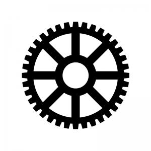 歯車(ギア)の白黒シルエットイラスト素材02