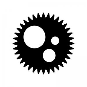 歯車(ギア)の白黒シルエットイラスト素材03