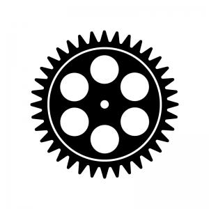 歯車(ギア)の白黒シルエットイラスト素材04