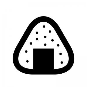 ごま塩のおにぎりの白黒シルエットイラスト素材