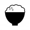 大盛りご飯の白黒シルエットイラスト素材
