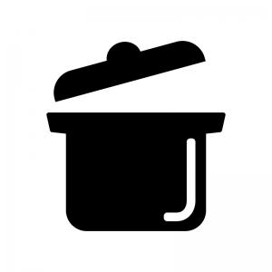 蓋が開いた鍋の白黒シルエットイラスト素材
