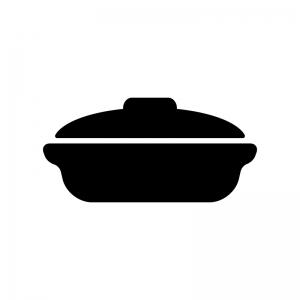土鍋の白黒シルエットイラスト素材