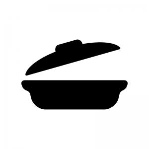 蓋が開いた土鍋の白黒シルエットイラスト素材