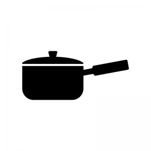 手鍋の白黒シルエットイラスト素材