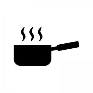 湯気が出ている手鍋の白黒シルエットイラスト素材