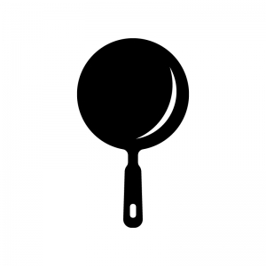フライパン・中華鍋の白黒シルエットイラスト素材
