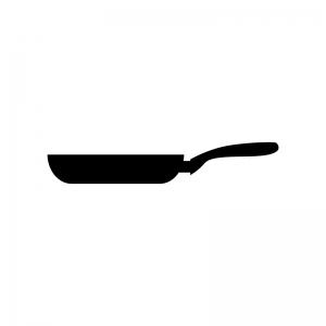 家庭用フライパンの白黒シルエットイラスト素材