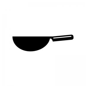 中華鍋の白黒シルエットイラスト素材