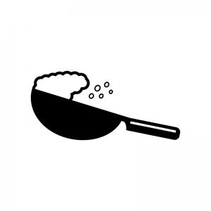 中華鍋でチャーハンをあおる白黒シルエットイラスト素材