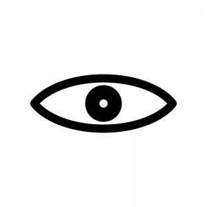 目玉の白黒シルエットイラスト素材