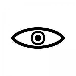 目玉の白黒シルエットイラスト素材02