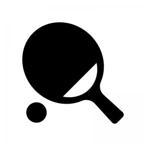 卓球・ピンポンの白黒シルエットイラスト素材