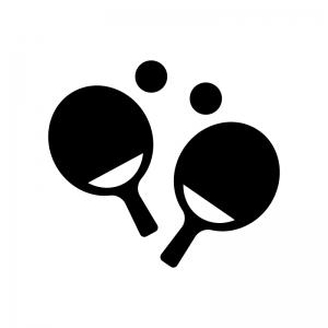 卓球・ピンポンの白黒シルエットイラスト素材02
