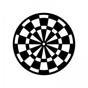 ダーツの的の白黒シルエットイラスト素材