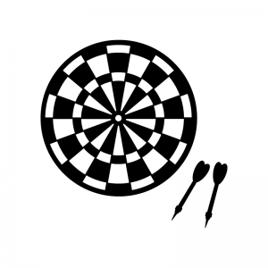 ダーツの的と矢の白黒シルエットイラスト素材