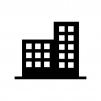 二つ並んだビルの白黒シルエットイラスト素材