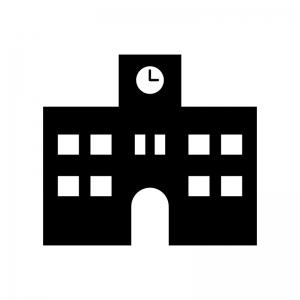 学校の白黒シルエットイラスト素材02
