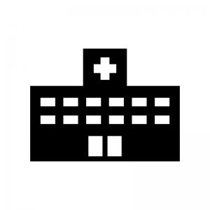 病院の白黒シルエットイラスト素材