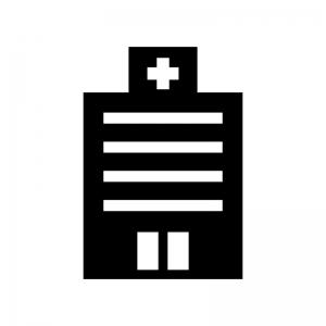病院の白黒シルエットイラスト素材02
