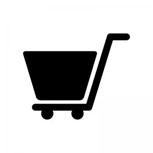 ショッピングカートの白黒シルエットイラスト素材