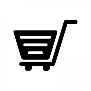 ショッピングカートの白黒シルエットイラスト素材02