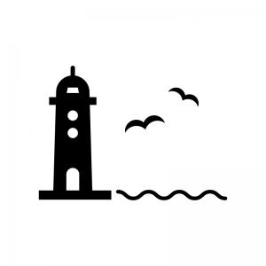 灯台とカモメの白黒シルエットイラスト素材