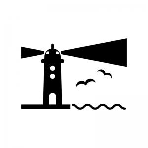 灯台と明かりの白黒シルエットイラスト素材