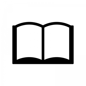 見開きの本・ブックスの白黒シルエットイラスト素材