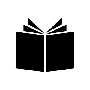 見開きの本・ブックスの白黒シルエットイラスト素材02