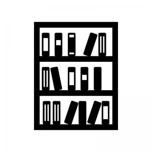 本棚に入った本・ブックスの白黒シルエットイラスト素材