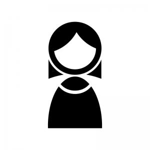 女性の白黒シルエットイラスト素材03
