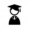 学士帽子の人物の白黒シルエットイラスト素材