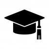 学士帽子の白黒シルエットイラスト素材