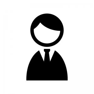 サラリーマンの白黒シルエットイラスト素材02