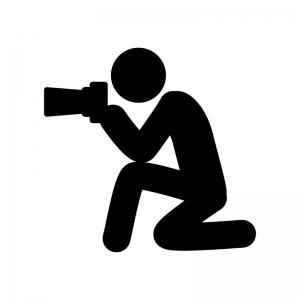 カメラマンの白黒シルエットイラスト素材