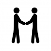 握手している人の白黒シルエットイラスト素材