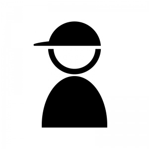 帽子をかぶっている人の白黒シルエットイラスト素材
