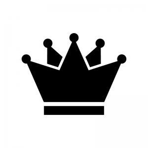 王冠の白黒シルエットイラスト素材04