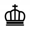 王冠の白黒シルエットイラスト素材06